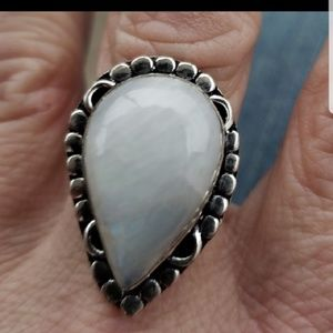 Vintage Sterling Silver Moonstone Ring 7.5